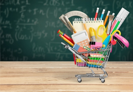 in the back: Education, Back to School, Shopping. Stock Photo