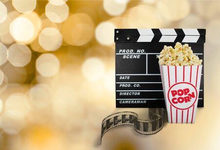 cinta pelicula: Palomitas, Película, Industria cinematográfica. Foto de archivo
