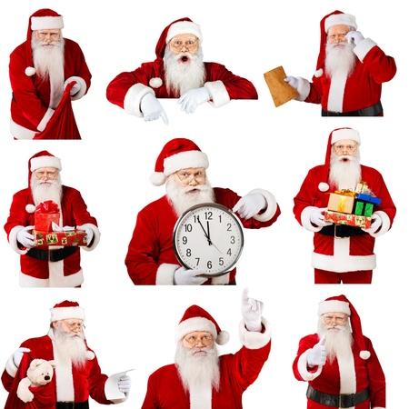 period costume: Santa Claus, Christmas, Clock. Stock Photo