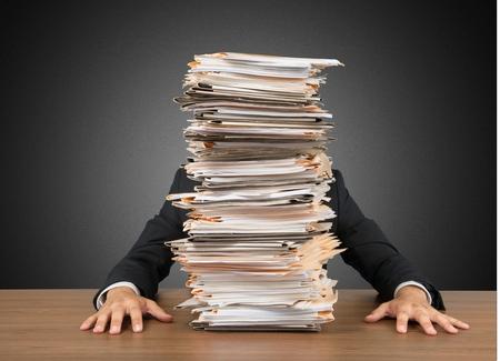 Emotional Stress, Paperwork, Frustration. Stockfoto