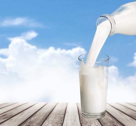 glass of milk: Milk, Milk Bottle, Pouring.