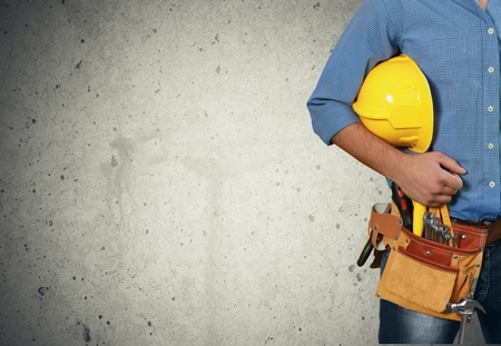 manual worker: Construction, Occupation, Manual Worker. Stock Photo