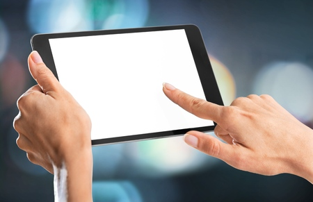 Holding, hand, tablet.