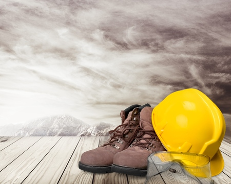 leather boots: Hardhat, industrial clothes, goggles.