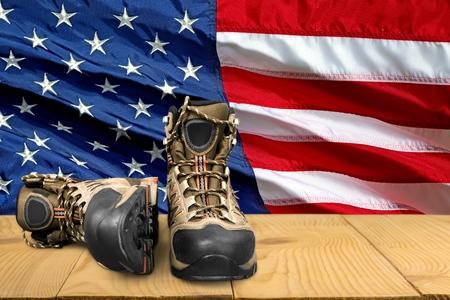hiking boot: Hiking Boot, Boot, Shoe. Stock Photo