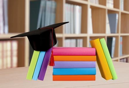 mortar hat: Graduation, Mortar Board, Book.