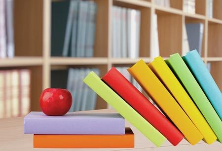 medium group of object: Book, Apple, Study. Stock Photo
