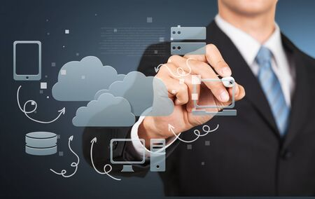 navy blue suit: Cloud, network, networking. Stock Photo