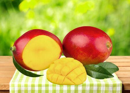 a portion: Mango, Fruit, Portion.