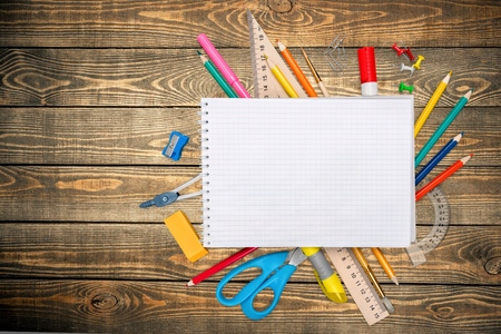 learning materials: Desk, school, background. Stock Photo