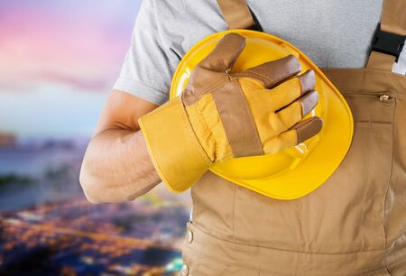 skilled labour: Glove, labour, labourer. Stock Photo