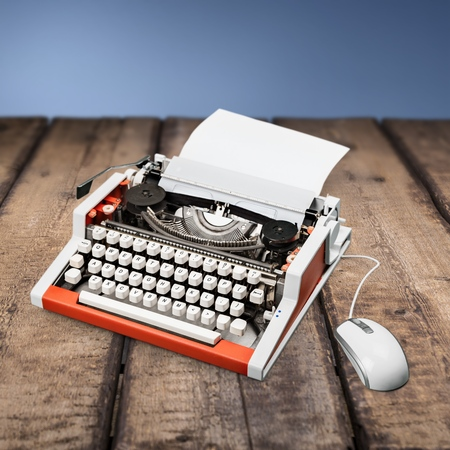old and new: Old, New, Typewriter. Stock Photo