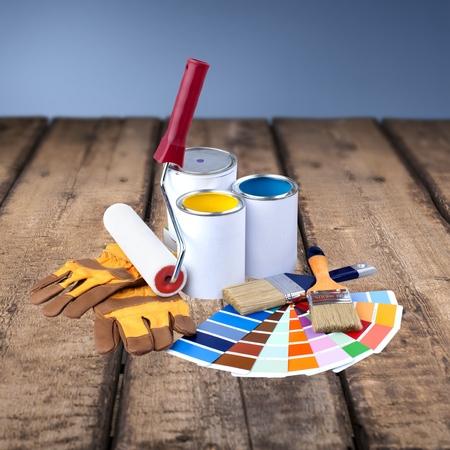 descriptive color: Paint, Paint Can, Paintbrush. Stock Photo