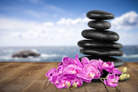 vertical wellness: Spa Treatment, Orchid, Stone. Stock Photo