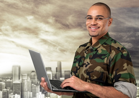 military uniform: Military, Armed Forces, Laptop. Stock Photo