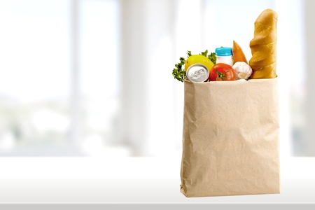 バッグ、食料品の買い物。 写真素材