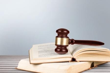 adjournment: Law, Book, Gavel.