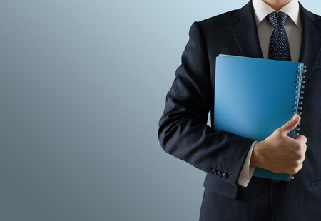 obscured face: Report, Business, Plan. Stock Photo