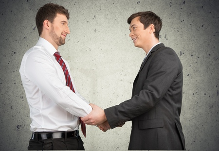 two persons only: Handshake. Stock Photo