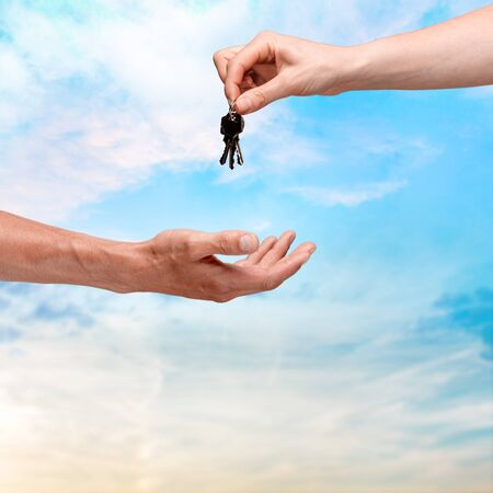 moving house: Key, Moving House, Real Estate. Stock Photo