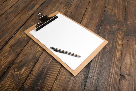 Clipboard, Pen, Paper.