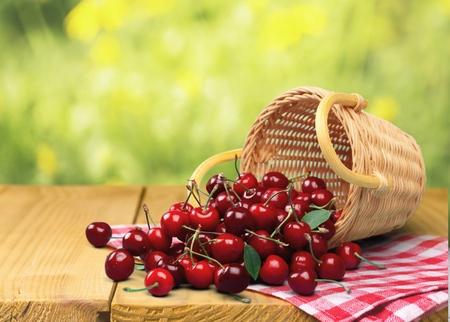 food basket: Cherry, Basket, Fruit.