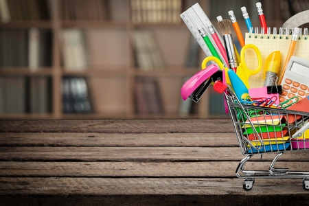 school supplies: Education, Back to School, Shopping. Stock Photo