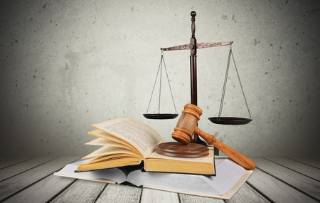 Law, Justice, Book. Stock Photo