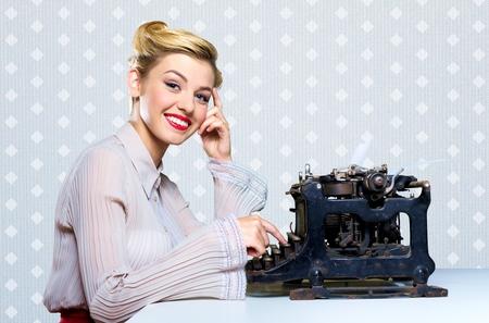 black secretary: Writer. Stock Photo