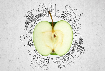bisected: Apple. Stock Photo