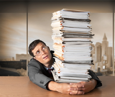office physical pressure paper: Stack.