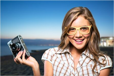 pretty face: Hipster. Stock Photo