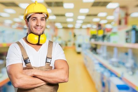 obrero trabajando: Trabajador. Foto de archivo