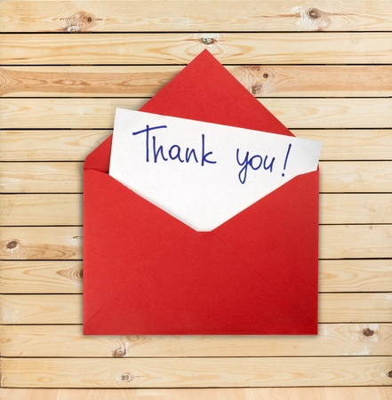 letter envelope: Thank You. Stock Photo