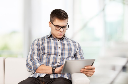35 years old man: Tablet. Stock Photo