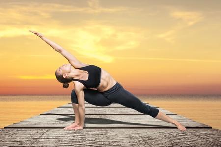 parsvakonasana: Yoga. Stock Photo