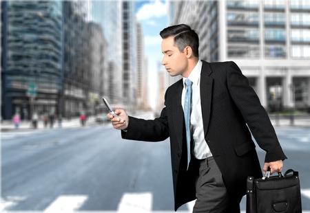 business man phone: Mobile Phone. Stock Photo