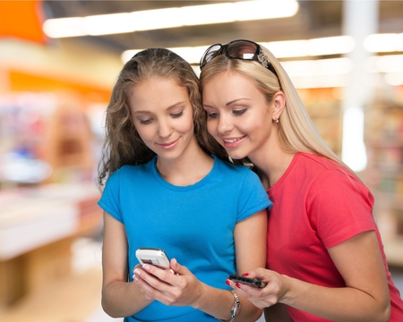 young students: Mobile Phone. Stock Photo