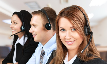 answering call: Service. Stock Photo