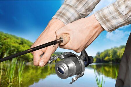 hand line fishing: Fishing. Stock Photo
