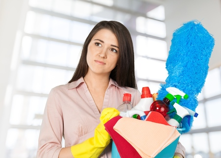 charwoman: Cleaning. Stock Photo