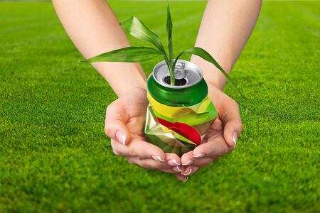 crushed cans: Recycling. Stock Photo