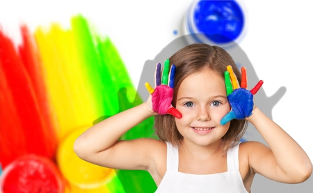 kids painted hands: Painted Hands. Stock Photo