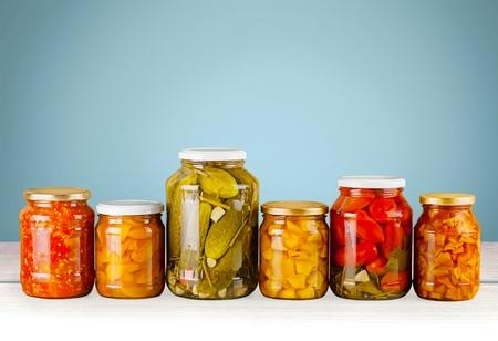 green bean: pickles in glass bottle