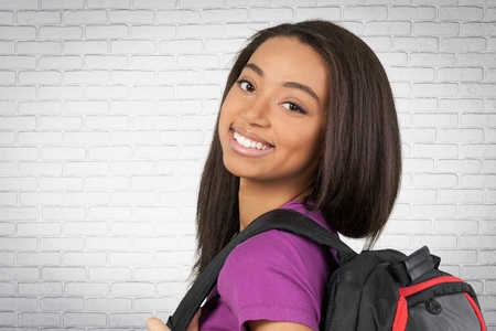 fair complexion: Young female student smiling Stock Photo