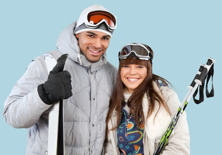 couple winter: Cheerful couple with winter clothes