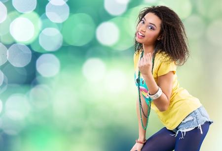 chicas adolescentes: Música. Foto de archivo