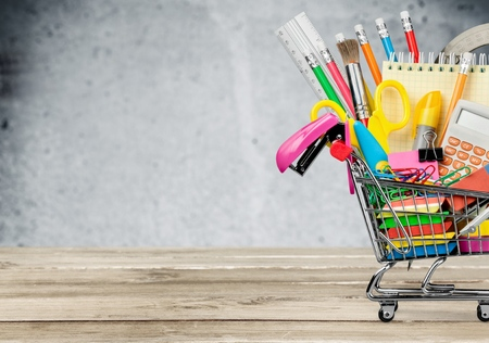 shopping trolley: Education. Stock Photo