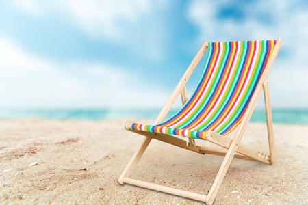 wooden chair: Deckchair. Stock Photo