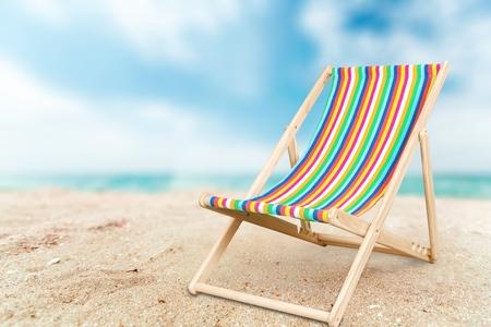 beach chair: Deckchair. Stock Photo
